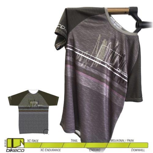 BikeCo Tech T Grey Scribbles Front