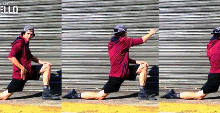 Kevin Aiello Pre Ride Warm Up Cross Body Kneeling MAIN