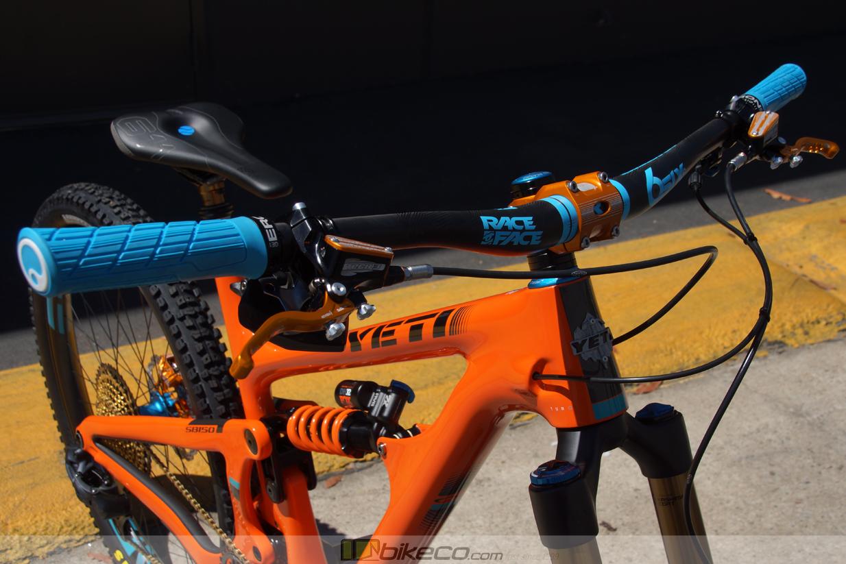 Detail of cockpit on custom yeti SB150 build. Orange with blue highlights.