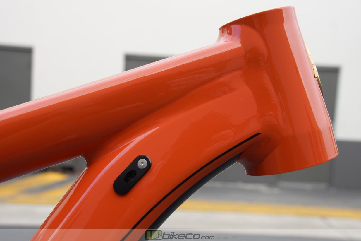 Headtube, top tube, downtube intersection Ibis Ripmo AF Red Savina Frame Detail