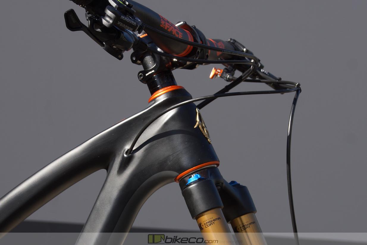 Custom Ibis Ripley Headtube detail photo Matte Mango Chris King headset and Orange RaceFace SixC bars