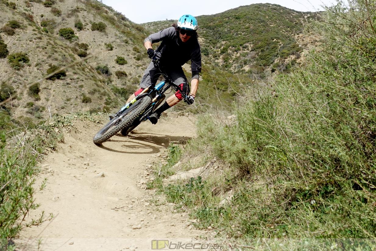 e-bike suspension in corners - Kevin Aiello digs into a corner on The Luge on the BMC amp e-bike.