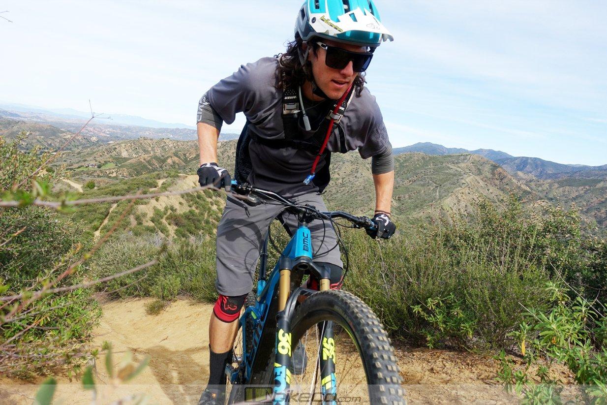 Kevin Aiello rides a BMC TrailFox AMP closeup.