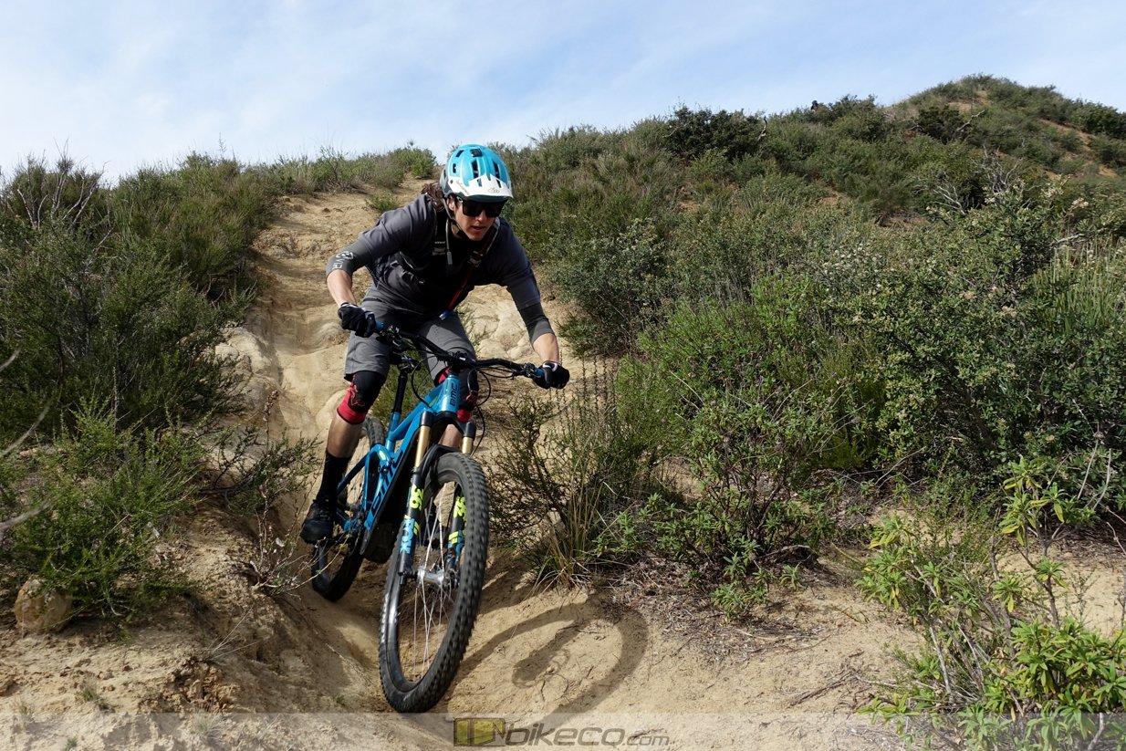 Kevin Aiello descends the BMC Amp e-bike.