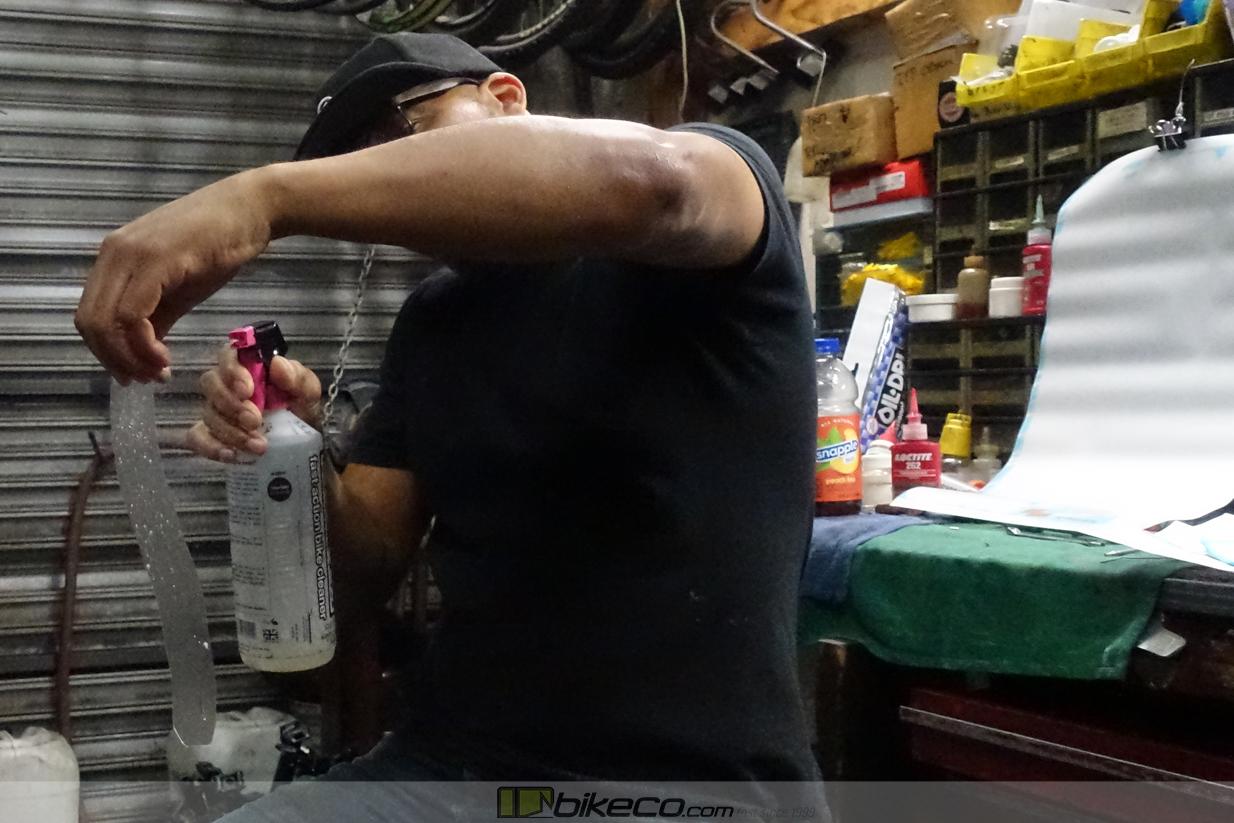 Spray the RideWrap piece prior to installation