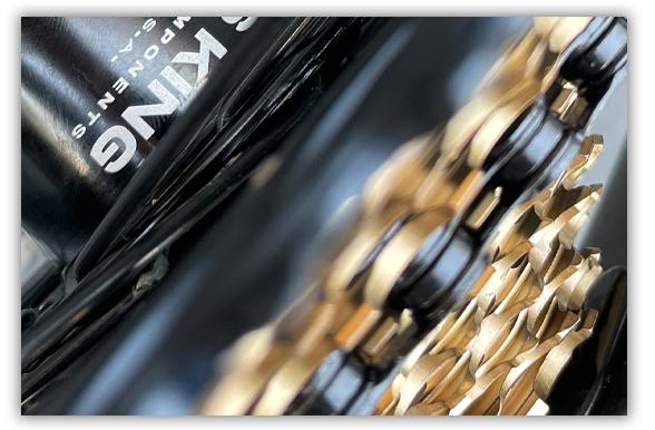 Gold XX1 Cassette, Black XX1 Chain with Black Chris King Hub